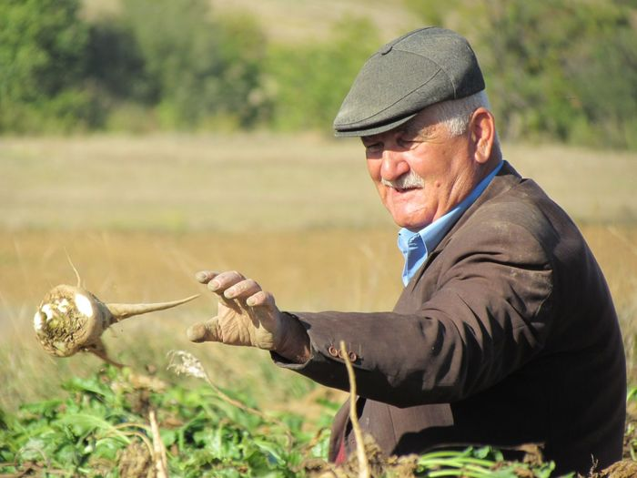Senior man throwing vegetable at farm