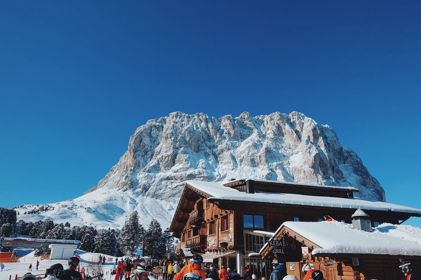 Italian Dolomites in Winter , Alta Badia, Colfosco Alta Badia Beauty In Nature Blue Sky Building Exterior Clear Sky Cold Colfosco Day Eaurope Freezing Italy Leisure Mountain Mountains Nature Outdoors Powder Ski Lift Skiing Snow Snowboarding Tranquility Travel Winter