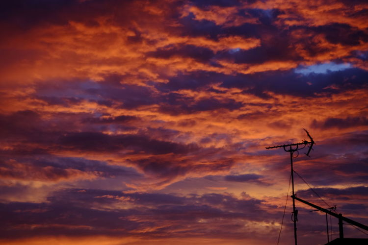 Low angle view of silhouette telephone pole against orange sky