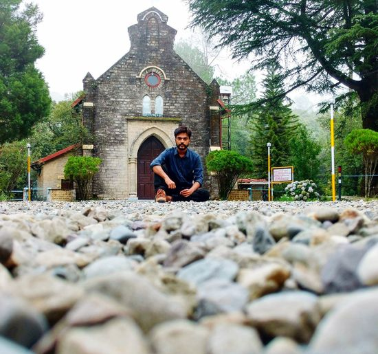Sit in the Cold breeze of Nature with Jesus Home behind Church Lansdowne Uttarakhand Tourism Uttarakhand Rainy Days Foggy Weather Stones And Pebbles Back ☺️