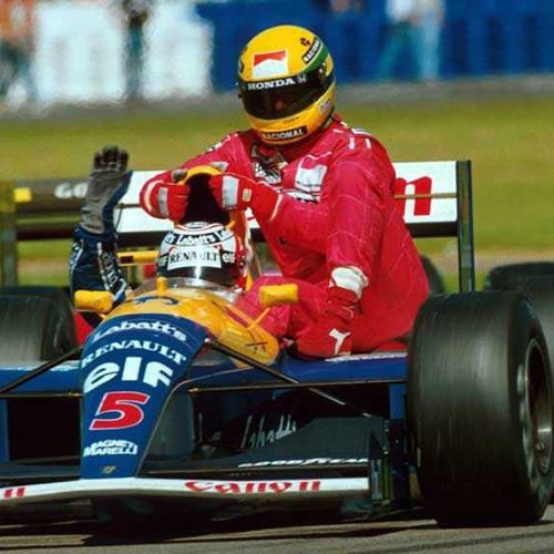 Iconic moments in sport! The king hitching a ride with the heir! Senna Mansell 92 Active suspension