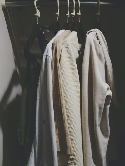 EyeEm Selects Coathanger Hanging Rack Jacket Clothing Fashion Choice Clothes Rack Formalwear Garment Button Down Shirt White Color Closet Variation Textile EyeEmNewHere Pastel PlainShirt Warm The Still Life Photographer - 2018 EyeEm Awards