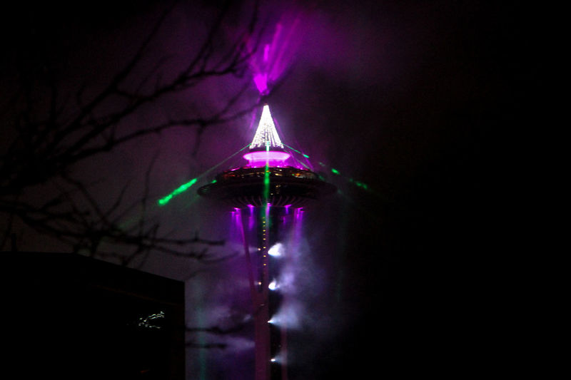Night Illuminated Lighting Equipment No People Nightlife Celebration Event Dark Copy Space Purple Glowing Low Angle View Decoration Built Structure Arts Culture And Entertainment Tree Architecture Light - Natural Phenomenon Building Exterior Bare Tree Light Seattle Seattle, Washington