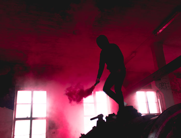 Low angle view of silhouette man