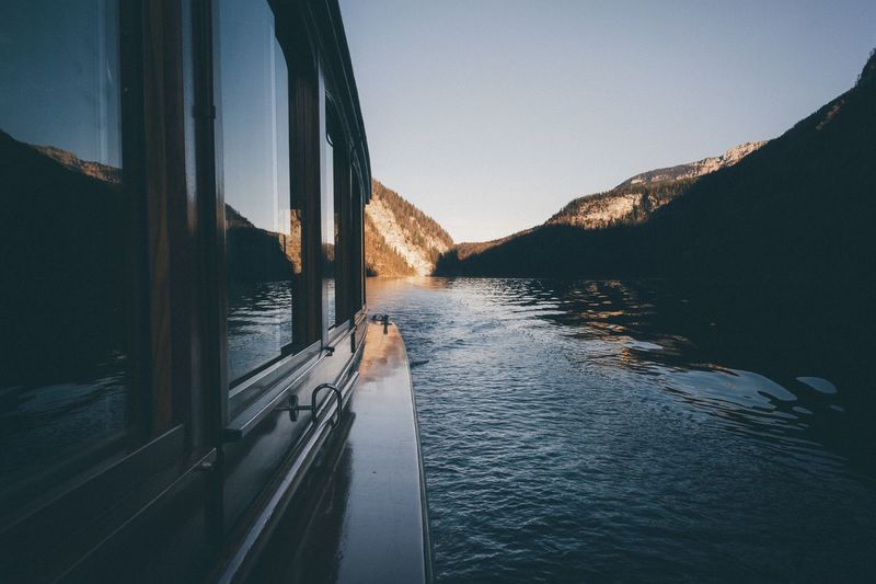 Evening boat trip Germany Tranquil Scene Travel Travel Destinations Photography Vscocam EyeEm Best Shots Landscape Exploring Nature Outdoors VSCO Mountain Rural Traveling Bavaria Alps Mountain Range Sunset Forest Leisure Activity Vacations