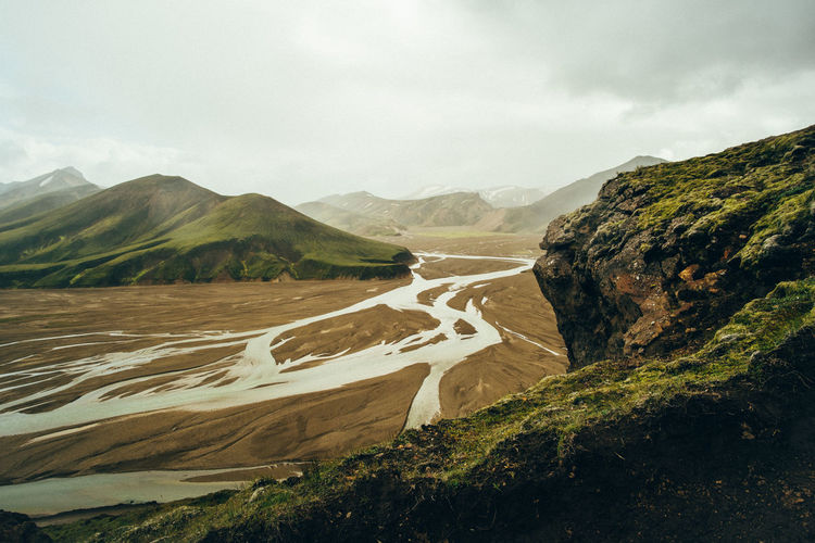 Iceland Beauty In Nature Day Landmannalaugar Landscape Mountain Mountain Range Nature No People Non-urban Scene Outdoors Physical Geography River Scenics Sky Tranquil Scene Tranquility Water Perspectives On Nature