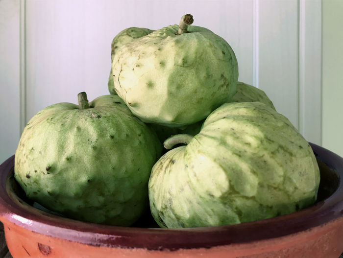 Bowl of chirimoya, custard apple, fruit Bowl Chirimoya Close-up Custard Apple Day Food Food And Drink Freshness Fruit Green Color Healthy Eating No People