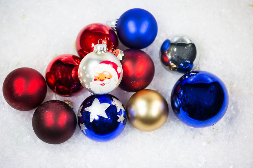 Ball Blue Celebration Choice Christmas Christmas Ornament Close-up Decoration Group Of Objects High Angle View Holiday Indoors  Medium Group Of Objects Multi Colored No People Purple Shiny Sphere Still Life Variation