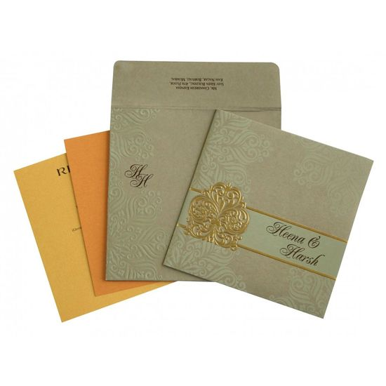 Give your wedding a special feel with our exclusive khaki, Matt paper, Designer Wedding Cards - AD-1730 for more details visit here @ https://www.a2zweddingcards.com/card-detail/AD-1730 Designer Wedding Cards Designer Wedding Invitations Wedding Cards Online Online Wedding Invitations