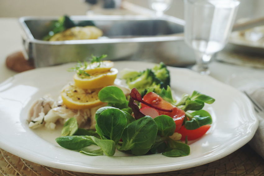 cod fish with salad Food Food And Drink Foodphotography Salad Dinner Table Close-up Healthy Eating Healthy Mint Leaf - Culinary Basil Leaf Close-up Food And Drink Leaf Vegetable Salad Olive Oil
