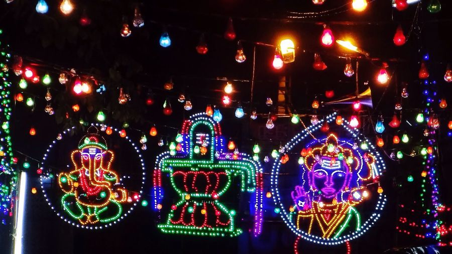 Neon lights Neon Lights Night Design Hindu Hinduism Celebration Shiva GaneshChaturthi Ganesh Murugantemple Vinayakachavathi Hindu Gods Hindu Temple Hindu Festival India Incredible India Incredibleindia Visual Creativity