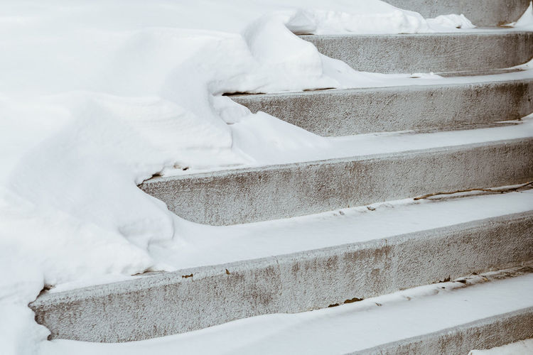 Snowy winter concrete stairs Clearing Stairs Beauty In Nature Cold Temperature Day Nature No People Outdoors Plowing Showeling Slippery Snow Snow Clearing White Color Winter