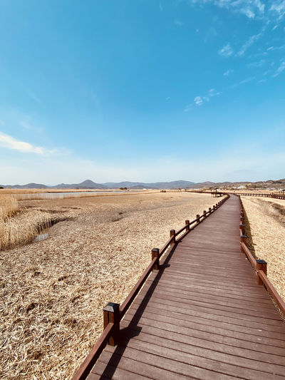 View of boardwalk on landscape against blue sky in korea