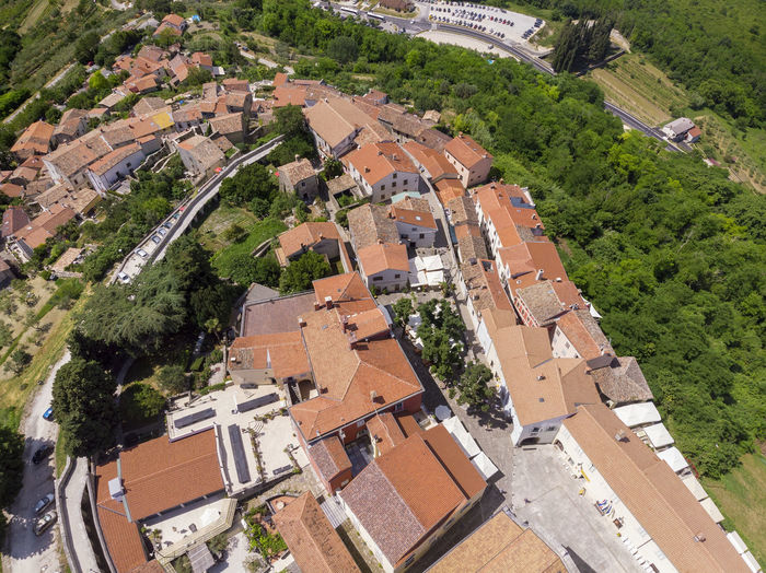High angle view of townscape and buildings in town