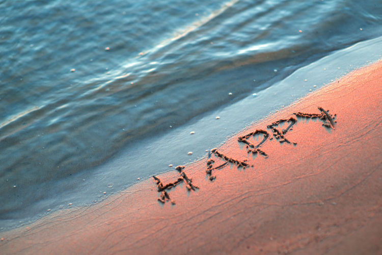 High Angle View Of Happy Text On Shore At Beach