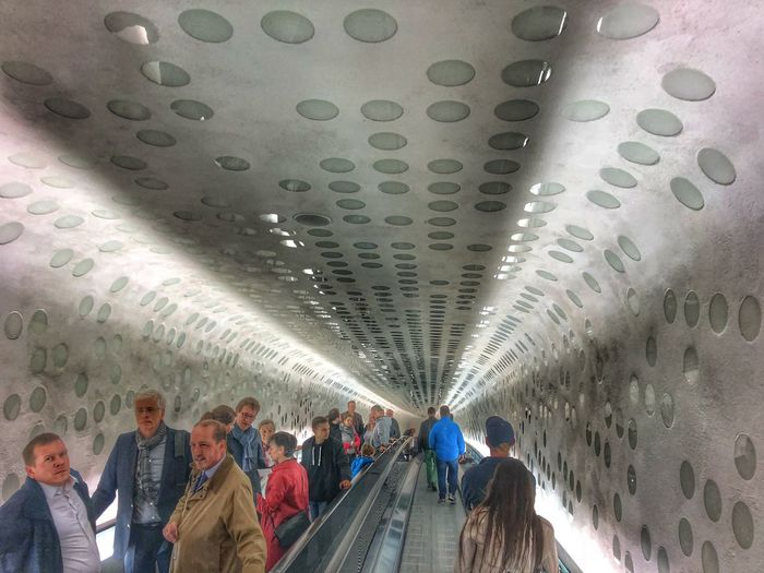 Up and down Group Of People Real People Indoors  Men Architecture Women Lifestyles Large Group Of People Crowd Ceiling Adult Built Structure Travel Illuminated Transportation Subway Walking Leisure Activity Public Transportation Modern