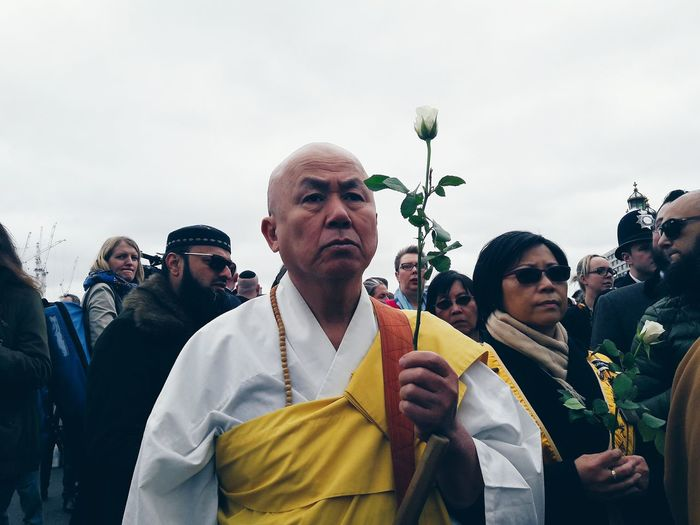 A Buddhist monk at a vigil held yesterday remembering the victims of last week's terror attack on Westminister Bridge. People Togetherness London People Places Streetphotography Street Freedom Street Photography EyeEm Gallery Mobile Photography VSCO People Photography Person Portrait Shootermag Getting Inspired