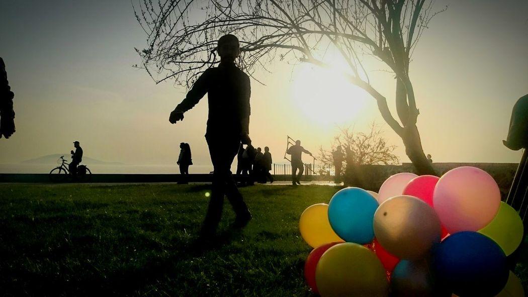 Istanbul Turkey Maltepesahil çekim Günü Set Dizi Ekip Balon Siluet Baloons Colours Renkritmi