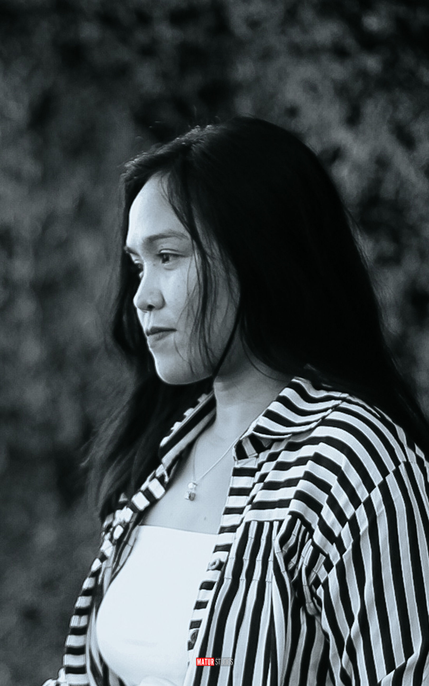 white, black and white, black, one person, women, monochrome photography, adult, portrait photography, monochrome, young adult, striped, portrait, female, hairstyle, person, photo shoot, looking, lifestyles, long hair, casual clothing, focus on foreground, waist up, clothing, standing, nature, outdoors, looking away, leisure activity, fashion, emotion, day, contemplation, headshot, smiling
