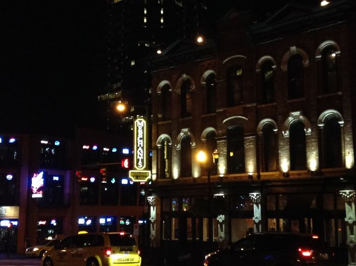 Architecture City Night Lights Building Exterior Nashville City Life Downtown City Illuminated Night Nightlife Night View City Street Traffic Intersection Street Car Cars Stoplight Nightphotography Late Night Downtown Nashville Merchants