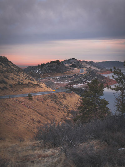 Sunset at horsetooth reservoir.