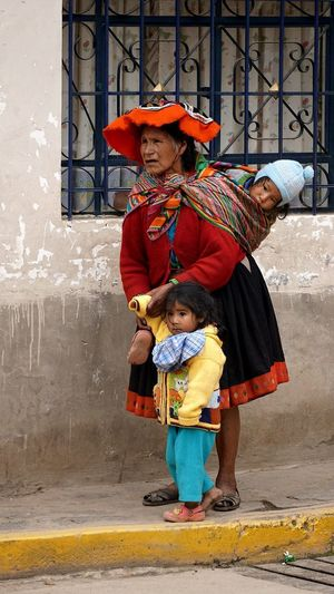 Indian South America Inka Full Length Traditional Clothing Adult Front View People Child Standing