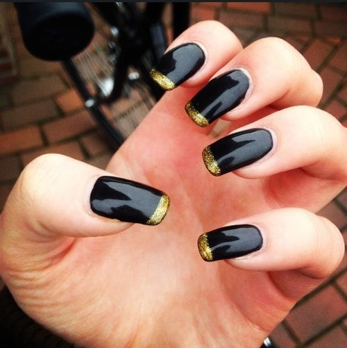 New nails! Gelnails Black Gold Nails