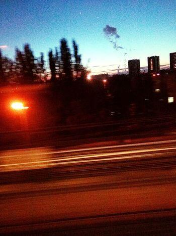 вечерняяпрогулка🌆😏 Москва Sky Illuminated Transportation Traffic City Night Blurred Motion Outdoors No People Red Light Motion First Eyeem Photo