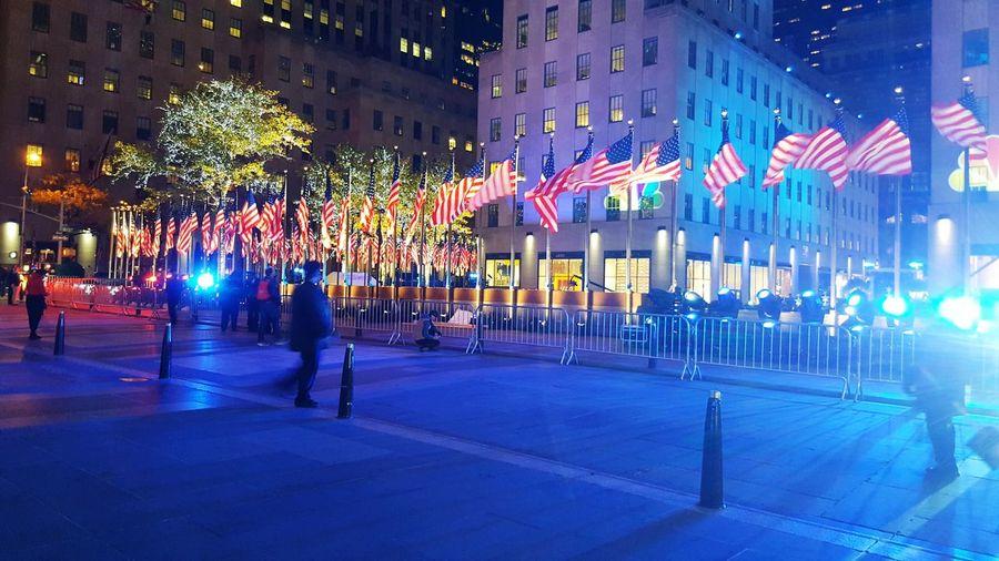 Rockefeller Plaza Rockefeller Center Democracy Plaza American Flag NYC New York City Election 2016 NYC Photography Tourism Travel Destinations Nbc Nbcnews Msnbc