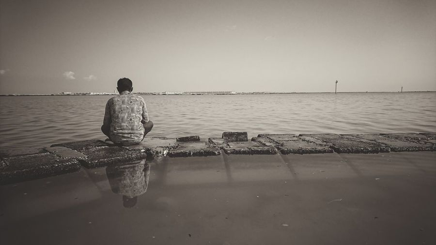 rule of thirds Solitude And Silence Solitude Sepia Corniche Water Sea Beach Males  Summer Clear Sky Fishing