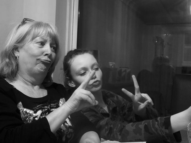 My daughter teaching my Mum how to do the perfect duck face. Capture The Moment Black & White Potrait Streamzoofamily