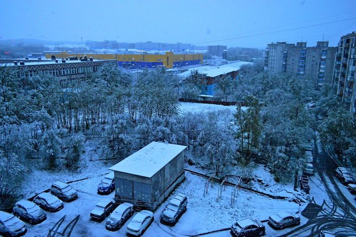 Snowfall At Midnight.June 21.Cold summer of 2017. Architecture Building Exterior Built Structure Cold Temperature Day Growth High Angle View Nature No People Outdoors Polar Region Sky Snow Snowfall Summer The Arctic Tree Winter 100 Days Of Summer