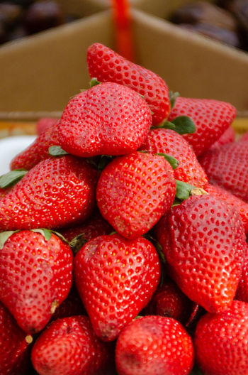 Close-up of strawberries in market