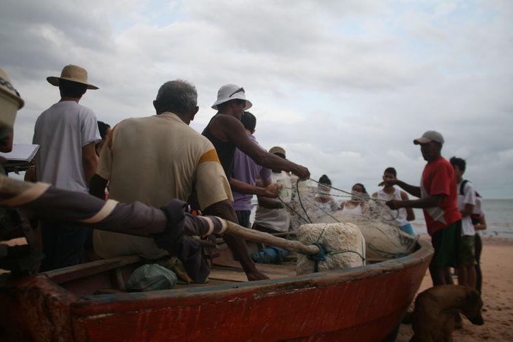 Beach Boat Fisherman Fishing Boat Men Oldman People Work