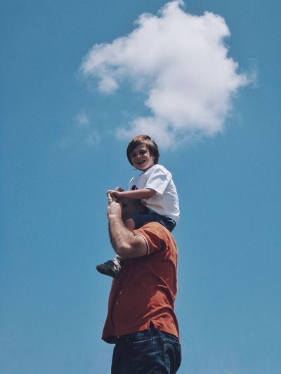 Pastel Power Father & Son Sky Clouds Smile Summer Eye4photography  EyeEm Best Shots Family Portrait Fresh on Market The Portraitist - 2016 EyeEm Awards Feel The Journey Two Is Better Than One Fatherhood Moments The Magic Mission מייגיא Sommergefühle Human Connection Moms & Dads
