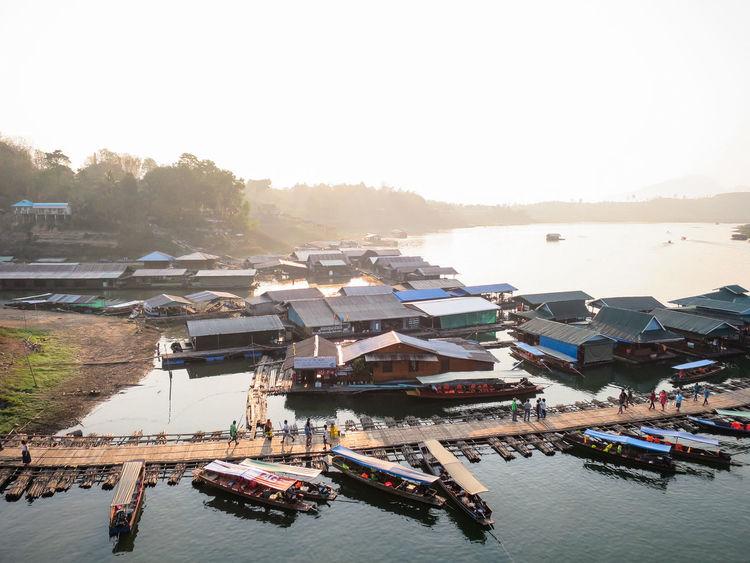 Boat House Community House Boat Moored Sangkhla Buri Sangkhlaburi Thailand Water