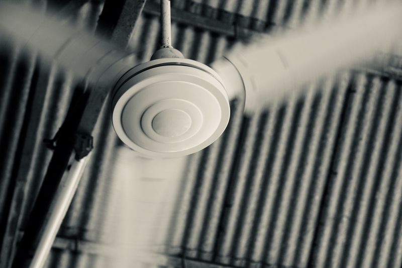 Low angle view of electric fan