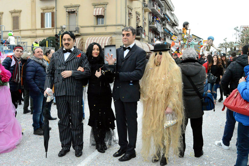 Addamsfamily Carnival Cosplay Costumes Funny Portrait Standing Viareggio People And Places Carnival Crowds and Details This Is Family