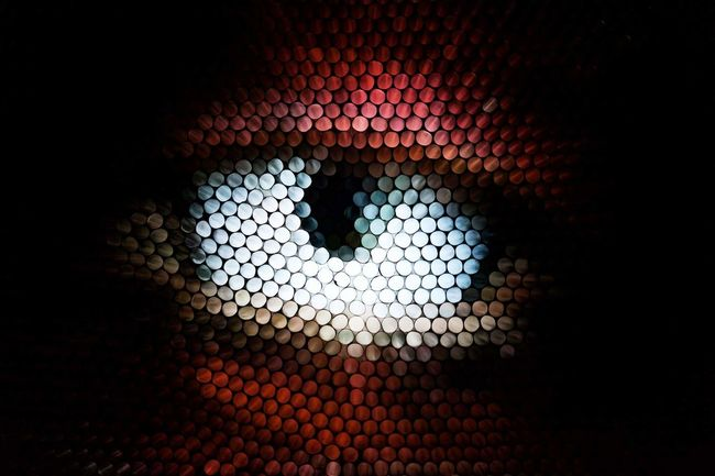 Pixelated No People Indoors  Close-up Eye Strawcamera Straws Abstract Textured  Illuminated Pattern
