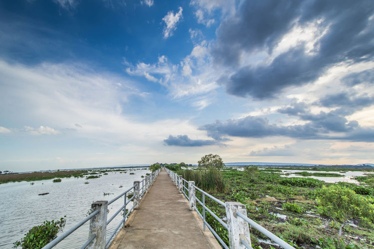 Architecture Beauty In Nature Bridge - Man Made Structure Built Structure Cloud - Sky Day Horizon Over Water Nature No People Outdoors Railing Scenics Sea Sky The Way Forward Tranquil Scene Tranquility Water