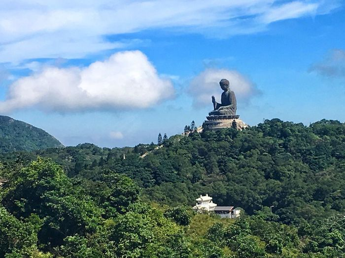 The Tian Tan Buddha (Big Buddha) was constructed beginning in 1990, and was finished on 29th of December 1993, which the Chinese reckon as the day of the Buddha's enlightenment. It is one of the largest Buddha statues in the world. Buddha Buddha Statue Big Buddha HongKong Landscape Landscapes With WhiteWall Nature_collection EyeEm Nature Lover Enjoying The View Sky And Clouds Blue Sky Trees Forrest Tranquil Scene Travel Photography Tourism Exploring Art Statue