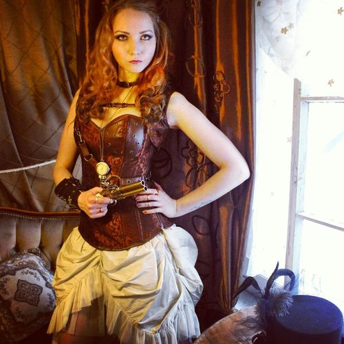 Doing modeling again! :D the place was lovely coffee shop this time! Steampunk Photoshoot Behind-the-scenes BHS Modeling Western Madmax Finnishgirl  That's Me Guns