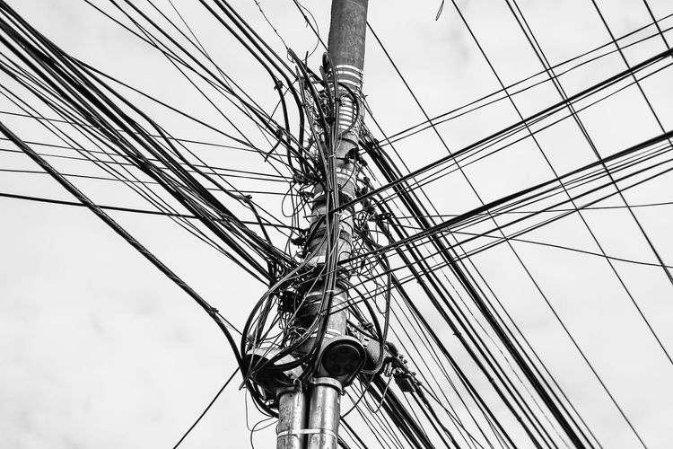 Cable Close-up Complexity Connection Day Full Frame Low Angle View Mast No People Outdoors Sky Technology