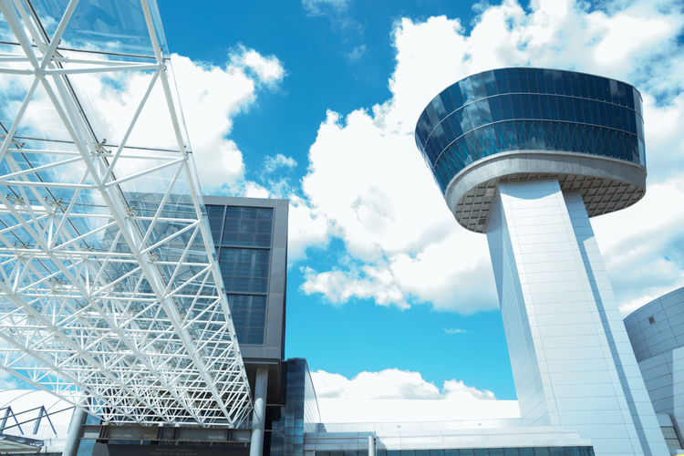 Architecture Blue Sky Blue Sky And Clouds Built Structure Cloud - Sky Day Low Angle View No People Outdoors Sky Smithsonian Smithsonian National Air And Space Museum Udvar Hazy