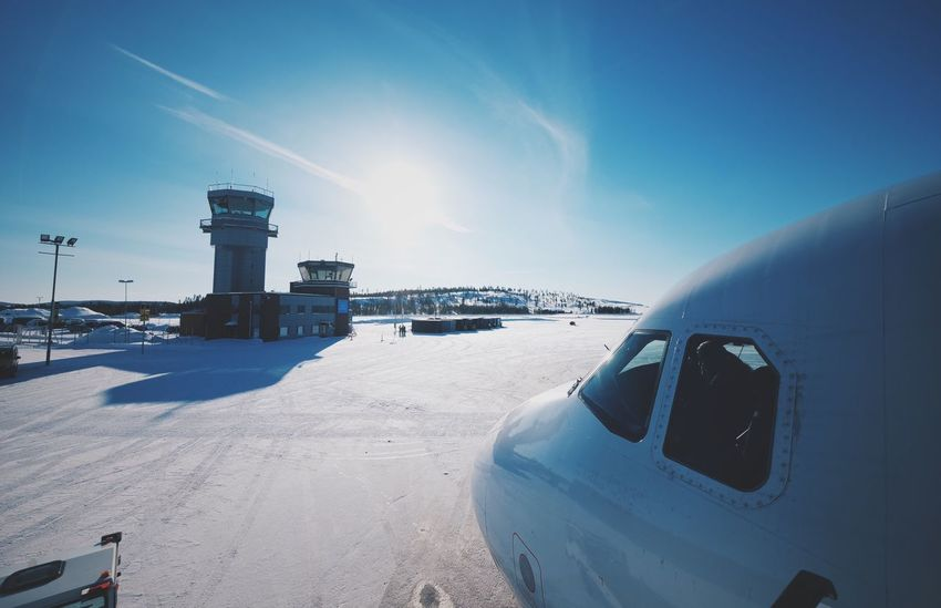 Finland Ivalo Transportation Snow Winter Sky Day Plane Airport