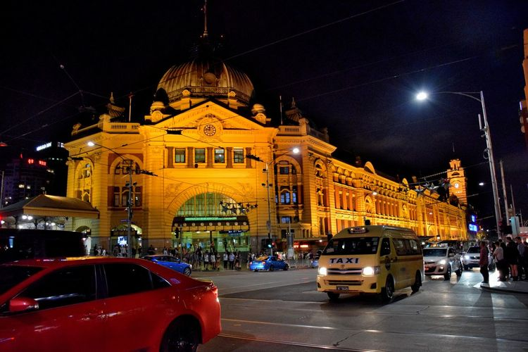 Flinders Street Station Building Exterior Built Structure City City Life Illuminated Night Street Train Train Station