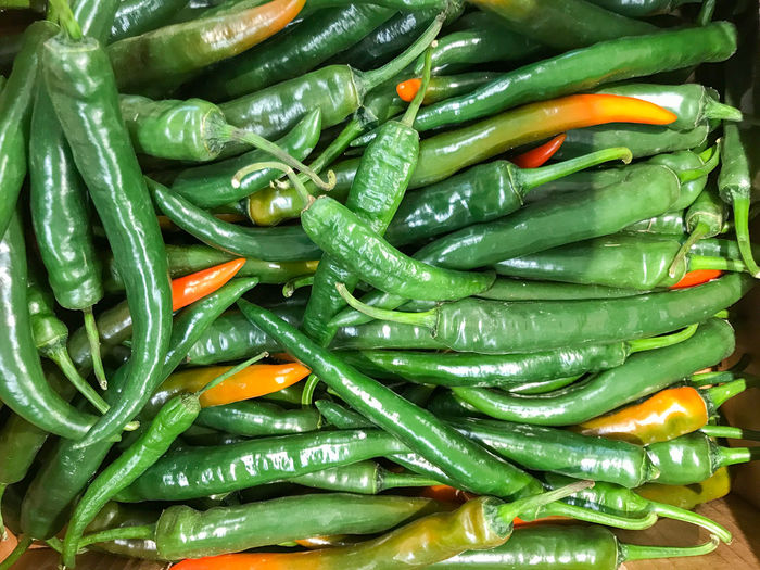 Raw green chili peppers. healthy fresh food background.