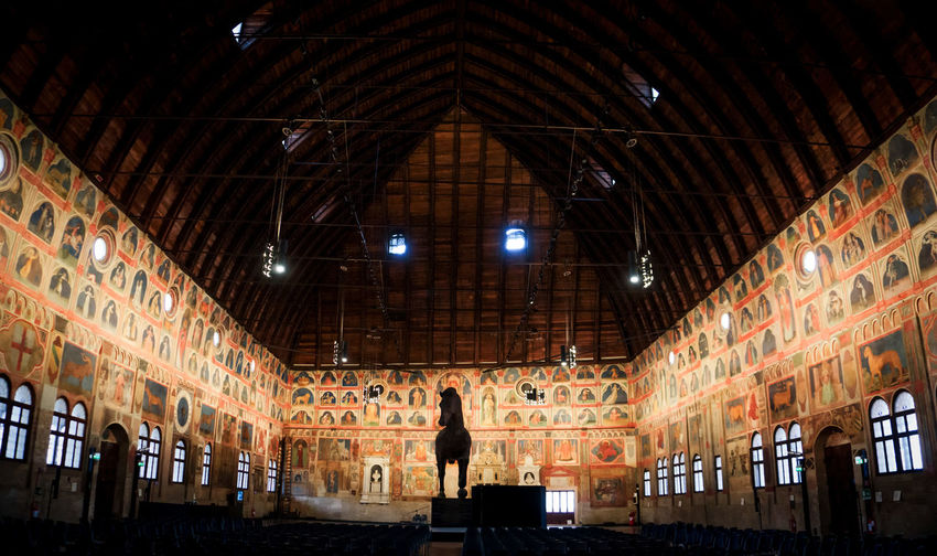 Palazzo della Ragione in Padova Horse Statue Paint Architecture Built Structure Ceiling Frescos Illuminated Indoors  Lighting Equipment Low Angle View
