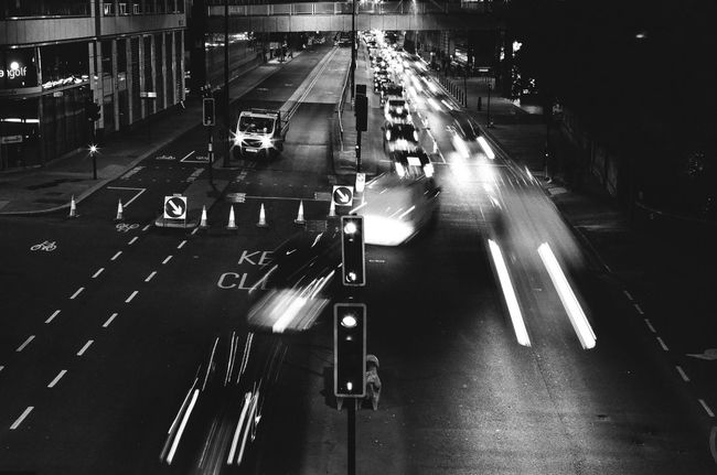 Film London Black And White Blurred Motion Car City City Life Film Photography High Angle View High Street Illuminated Land Vehicle Light Trail Long Exposure Motion Night No People Outdoors Road Road Marking Slow Shutter Speed Street Traffic Transportation Mobility In Mega Cities