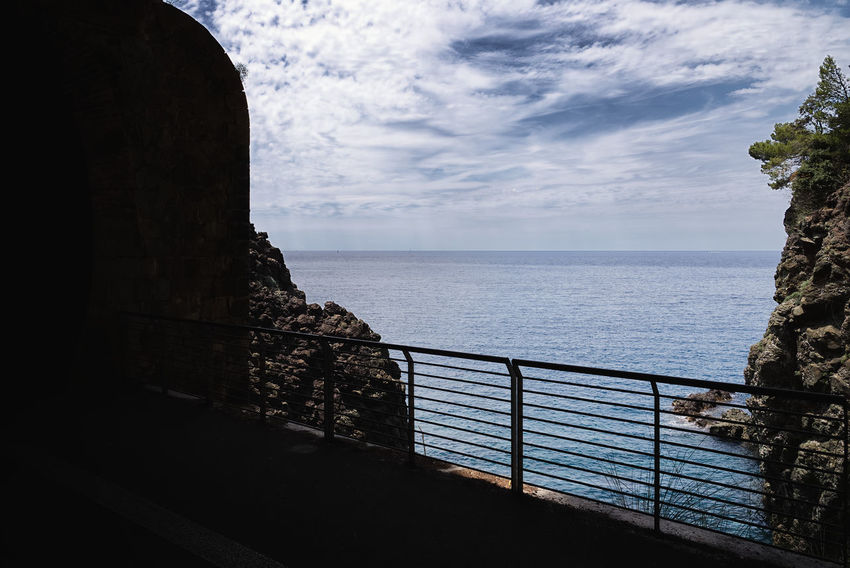 Bonassola coastline - Ligurian Sea - Liguria - Italy Bonassola Railing Rock Architecture Beauty In Nature Built Structure Cloud - Sky Coast Day Framura Horizon Horizon Over Water Idyllic Land Levanto Nature No People Outdoors Railing Scenics - Nature Sea Sky Tranquil Scene Tranquility Water